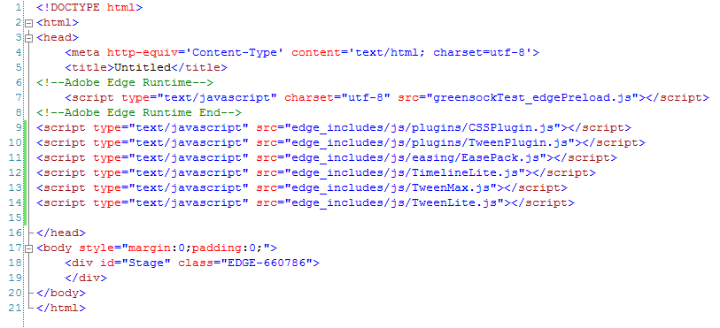 Using the Greensock JavaScript Animation Platform with Adobe Edge