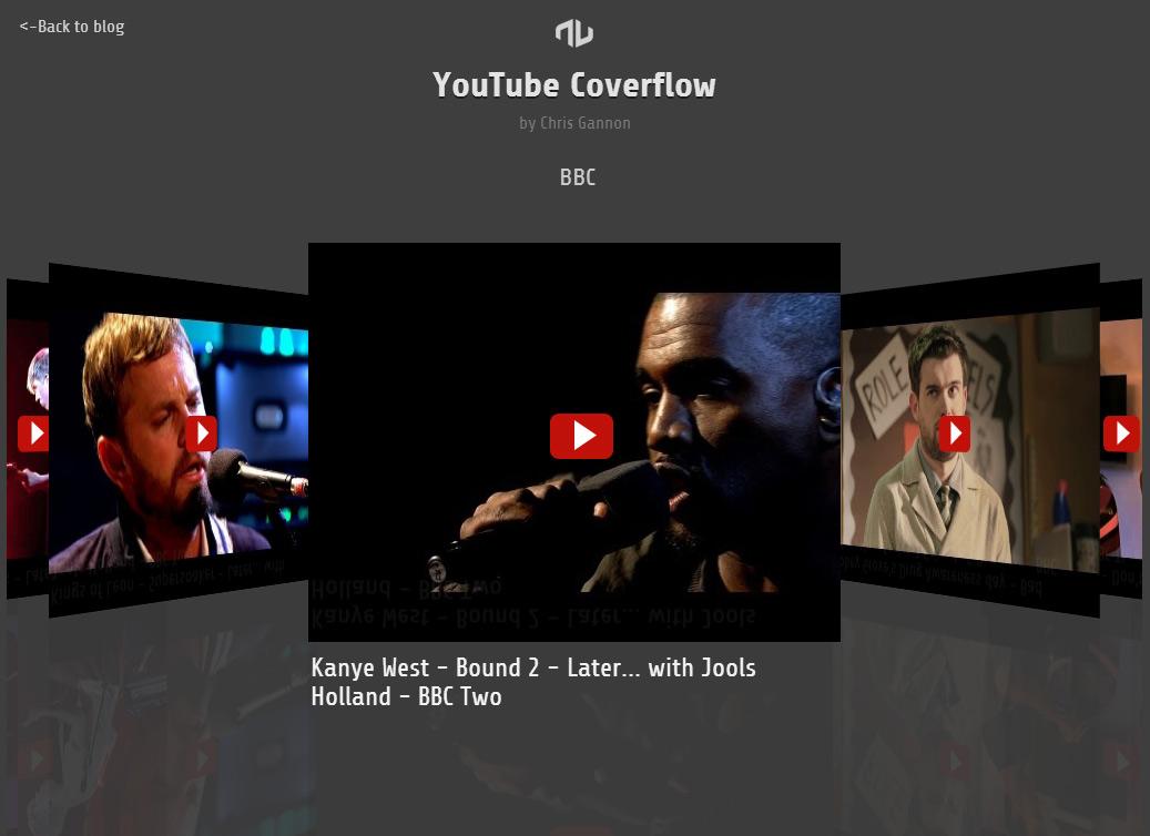 YouTube JavaScript Coverflow in Adobe Edge Animate and Greensock